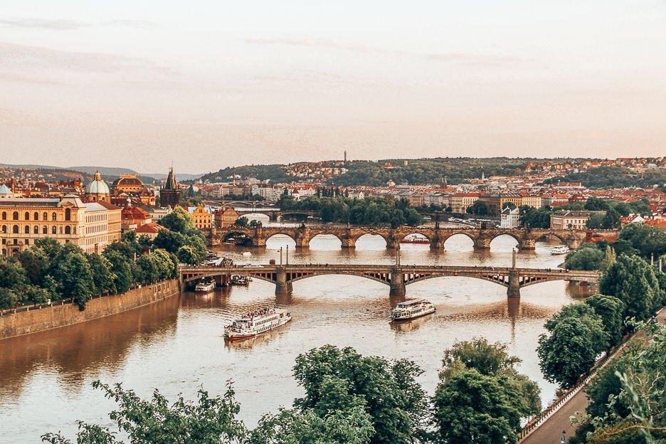 Bridges and boats at sunset, Prague
