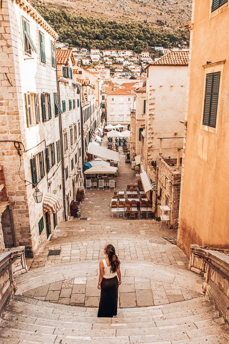 On the historic stairs in Dubrovnik Old Town, Croatia
