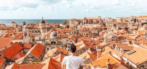 Overlooking the red roofs of Dubrovnik, Croatia