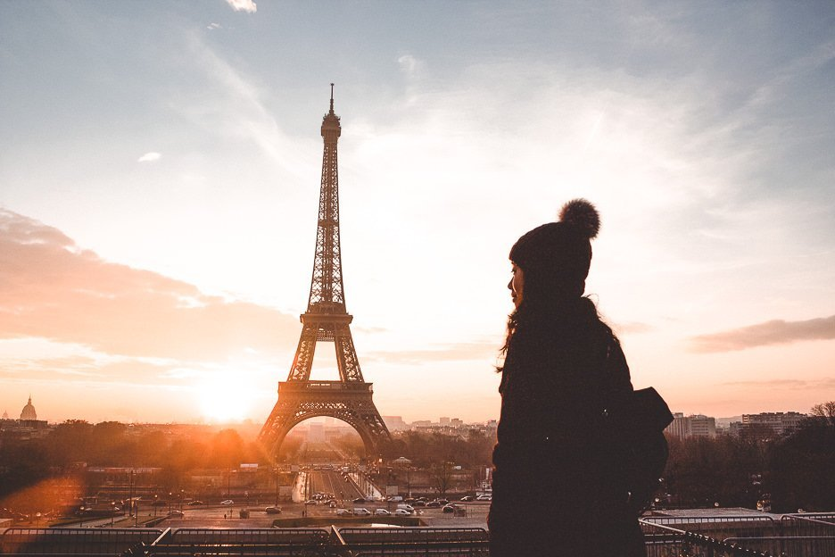 Catching sunrise over the Eiffel Tower from Trocadero, Paris