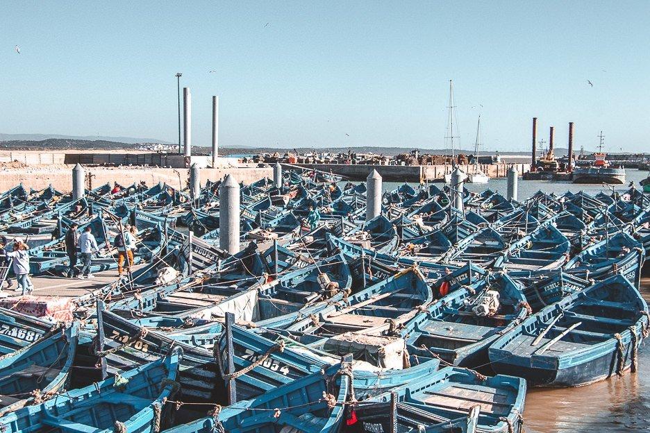 Blue fishing boats at Port of Essaouira Morocco