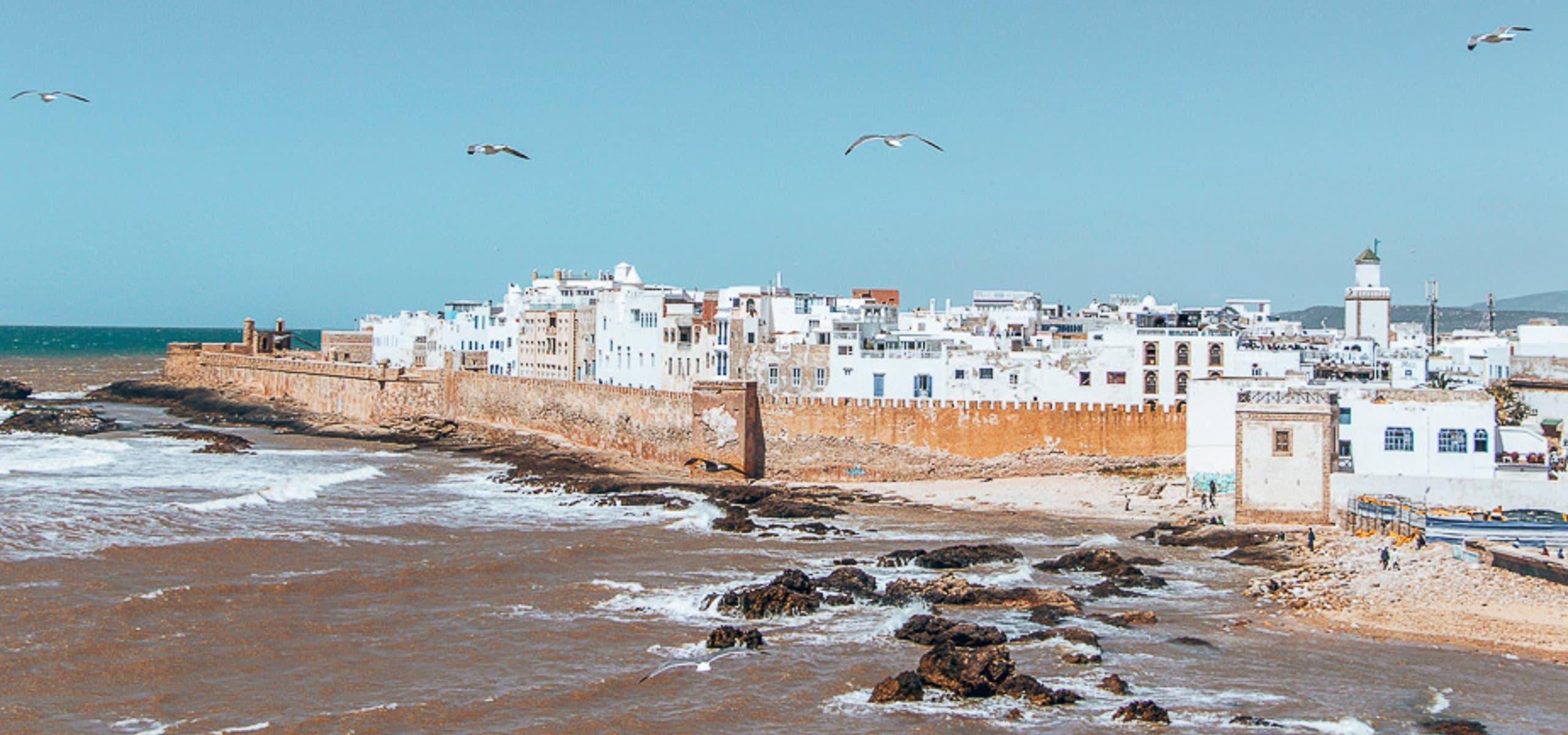 The view of Essaouira medina from Skala du Port, Essaouira Morocco