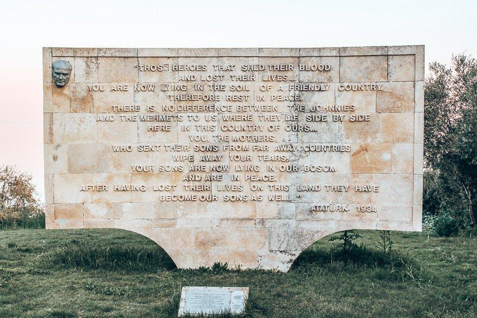Words spoken by Ataturk inscribed in memorium at Gallipoli, Turkey
