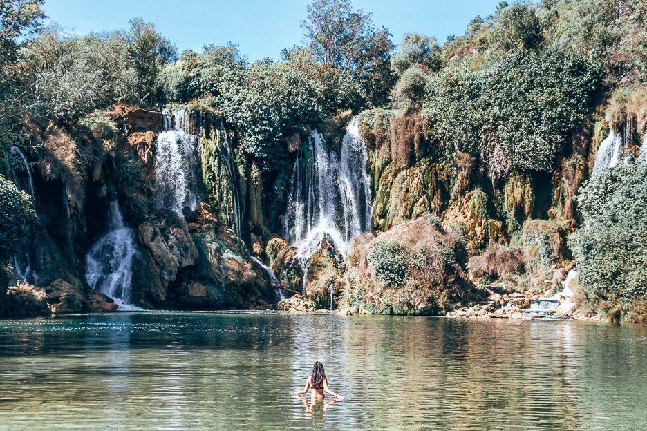Swimming underneath Kravica Waterfalls - Mostar, Bosnia & Herzegovina