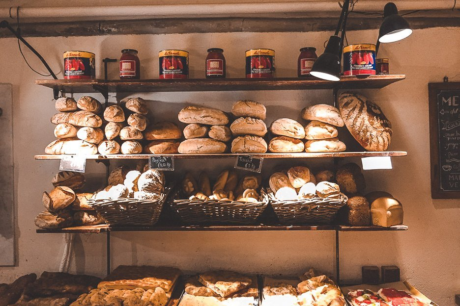 Freshly baked goods for sale at S.forno bakery, Florence