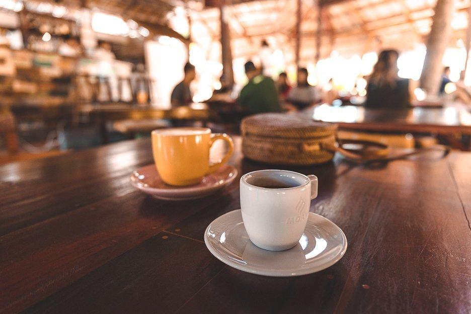 A latte and espresso at Fili Beans Espresso, Siargao