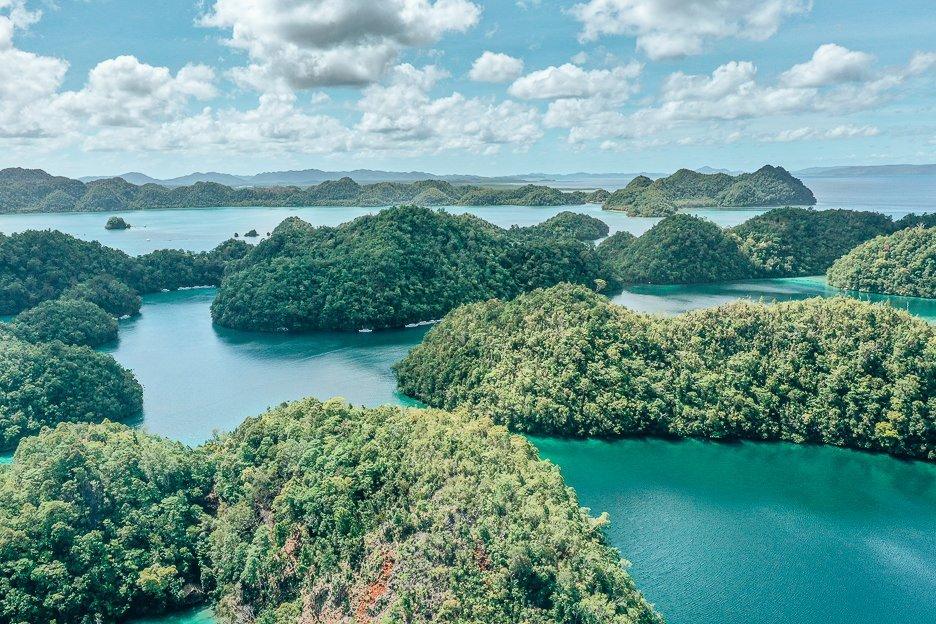 An aerial view of Sugba Lagoon, Siargao