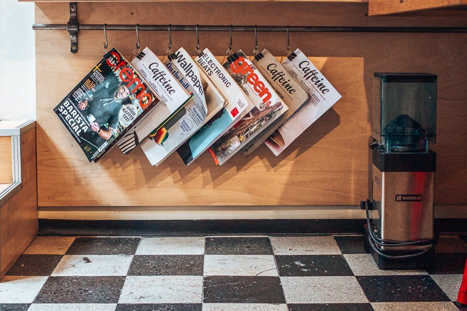 Magazines hanging inside My Little Melbourne Coffee and Brewbar, Budapest Hungary