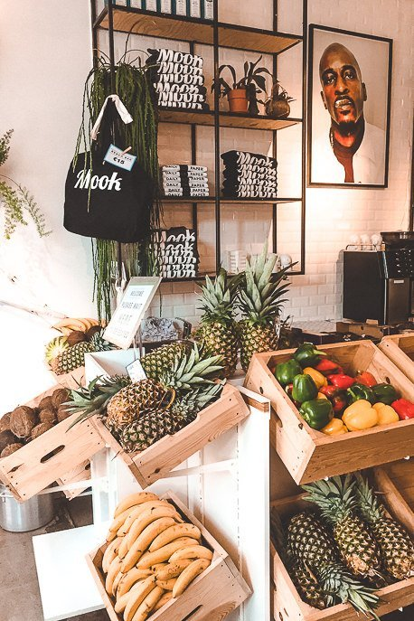 Fresh fruit and merchandise at Mook Pancakes, Amsterdam