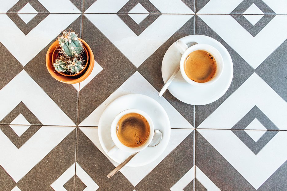 Espresso and cactus on the table at Hello Kristof, Lisbon Portugal