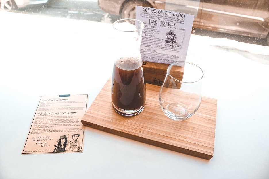 Filter coffee ready to drink at Coffee Pirates, Vienna Austria