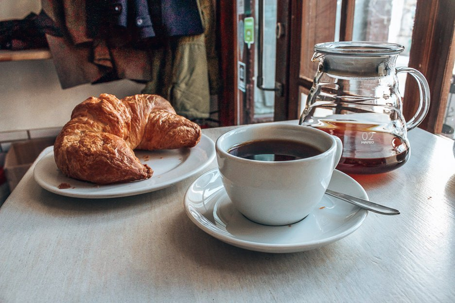 Filter coffee and croissant at Kaffeefabrik, Coffee in Vienna