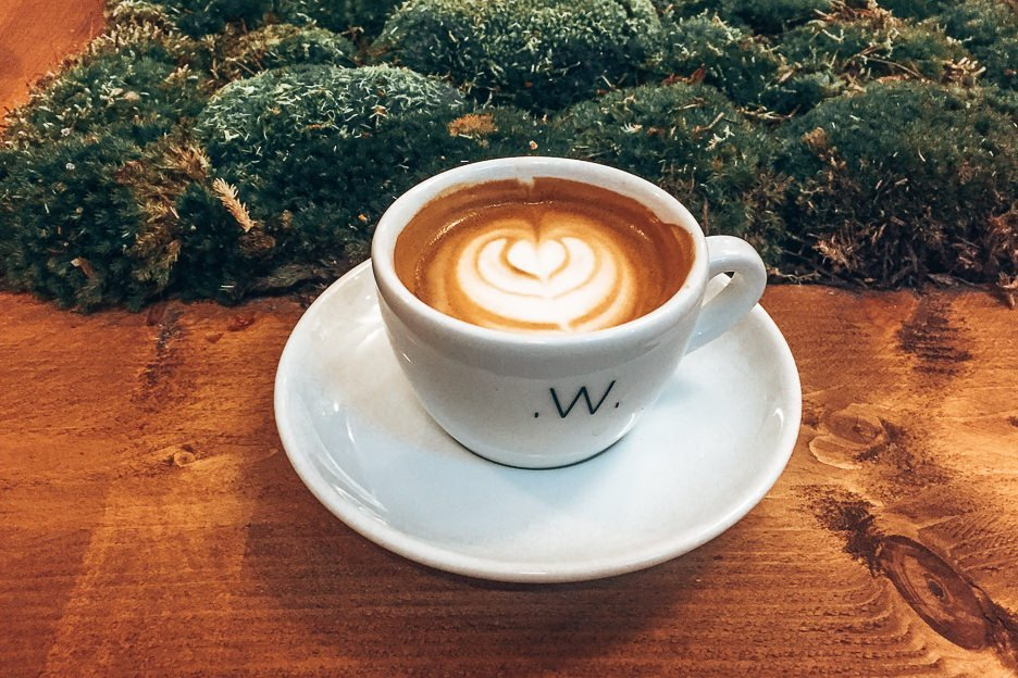 A latte at White Label Coffee