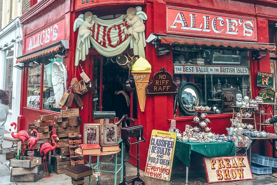 Antique shop at Portobello Road, Notting Hill, London Markets