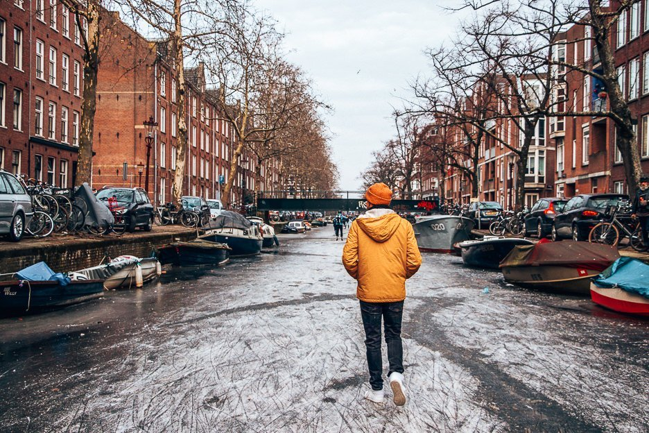Bevan walking on a frozen canal in Amsterdam, The Netherlands
