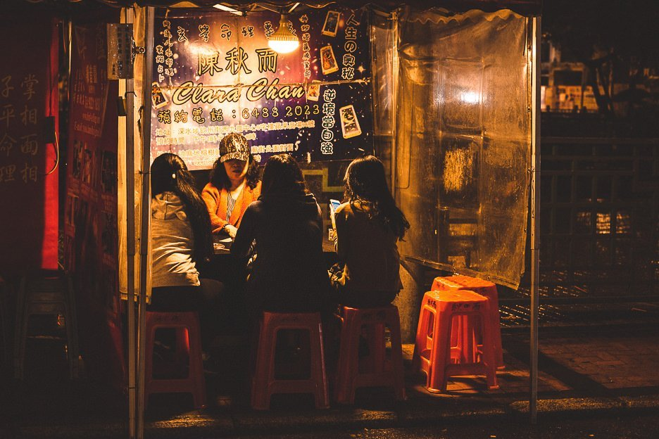 Fortune teller on the backstreets of Mong Kok, Hong Kong