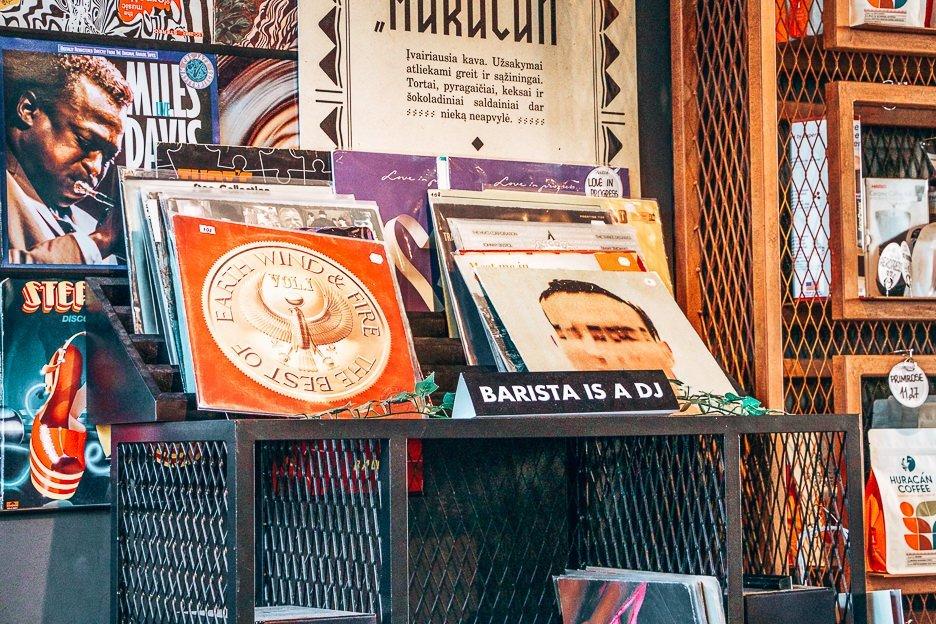 Records at Huracan Coffee, Vilnius