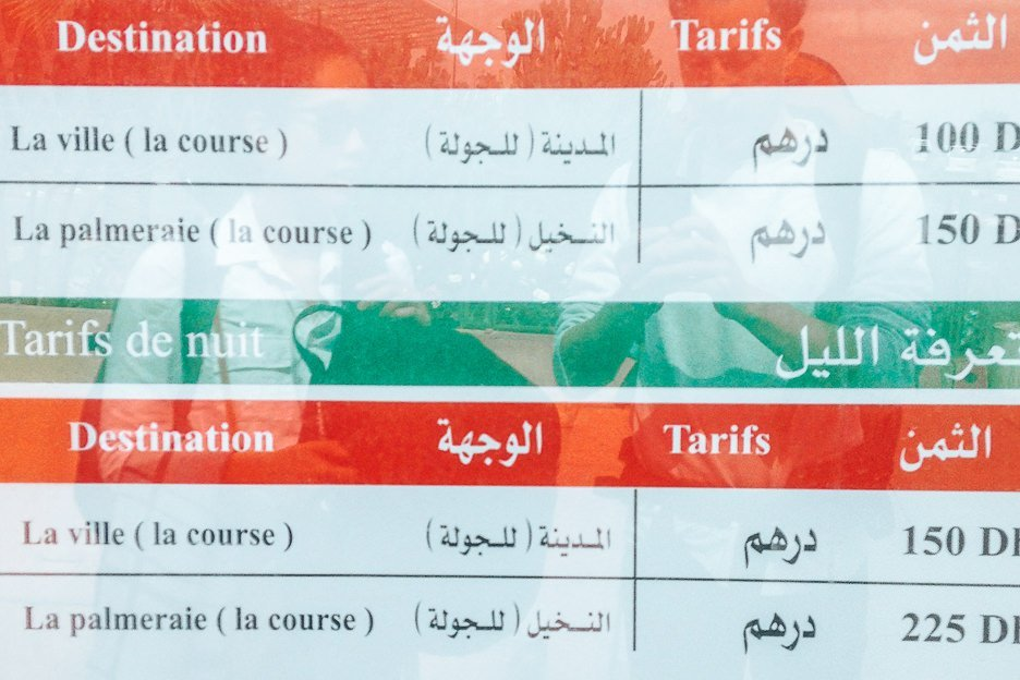 The Grand Taxi price list at Marrakech Airport, Morocco