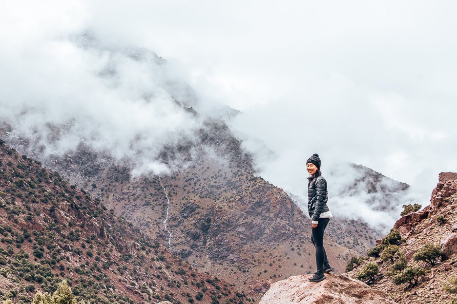 Jasmine hiking in the Atlas mountains, Morocco