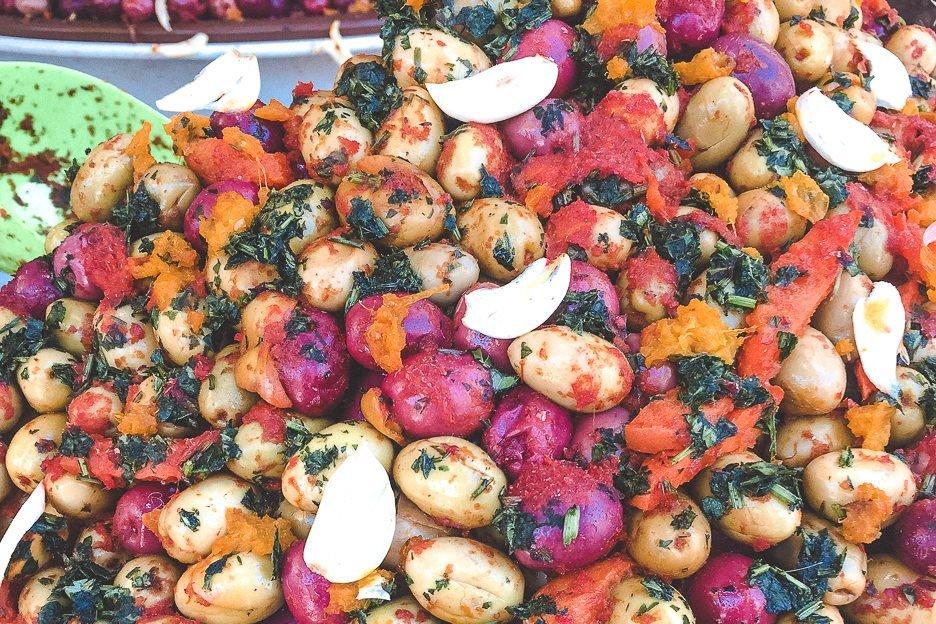 Garlic and herb green olives Essaouira Morocco