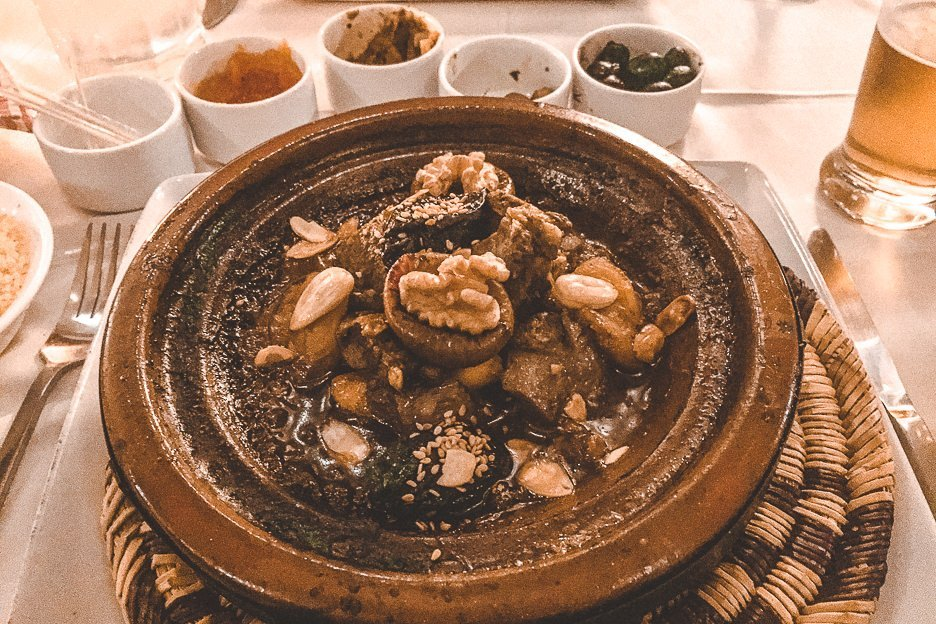 Lamb tagine with walnuts, plums and apricot at Riad Kaiss, Marrakech, Morocco