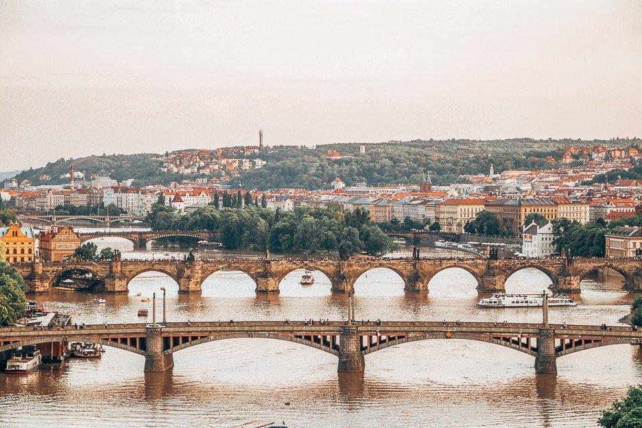 View over Prague at sunset, Czech Republic