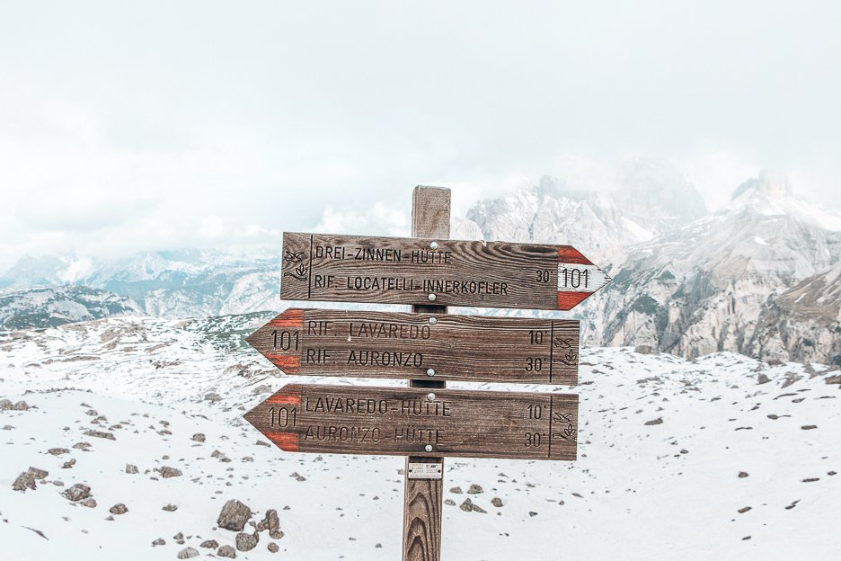 Directions on the trail of Tre Cime di Lavaredo, The Dolomites Italy