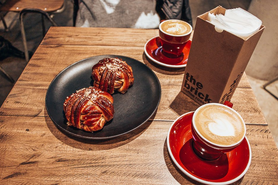 Flat whites and cinnamon buns at ROST Cafe, Tallinn