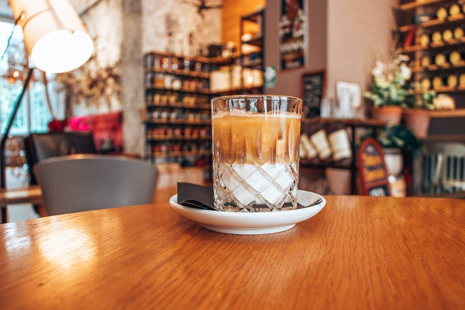 An elegant iced latte in La Boheme Cafe in Prague, Czech Republic - best coffee in Europe