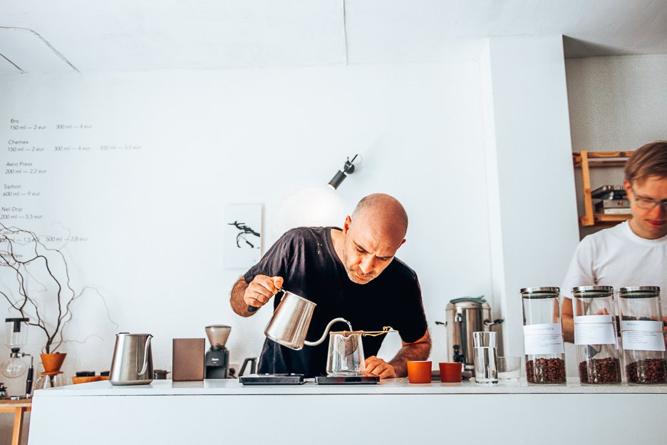 Head barista, Emanuelis of Crooked Nose & Coffee stories prepares a cup of specialty coffee in Vilnius, Lithuania