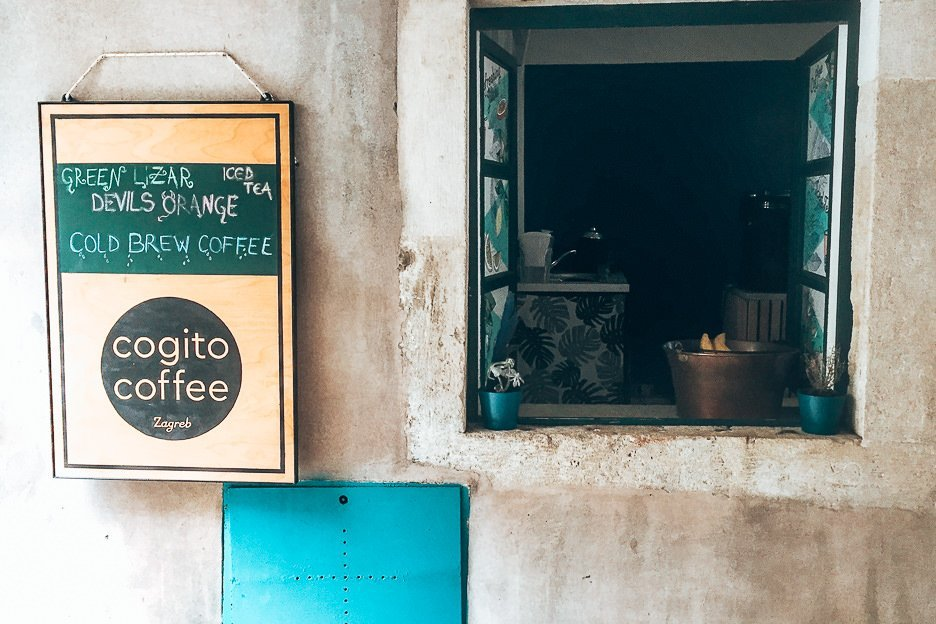 An open window to Cogito Coffee cafe in Dubrovnik, Croatia