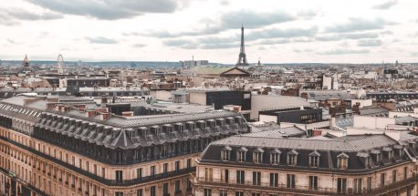 View of Parisian rooftops from Galaries Lafayette, Paris