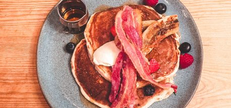 Pancakes with bacon and berries at Flotsam & Jetsam, Wandsworth