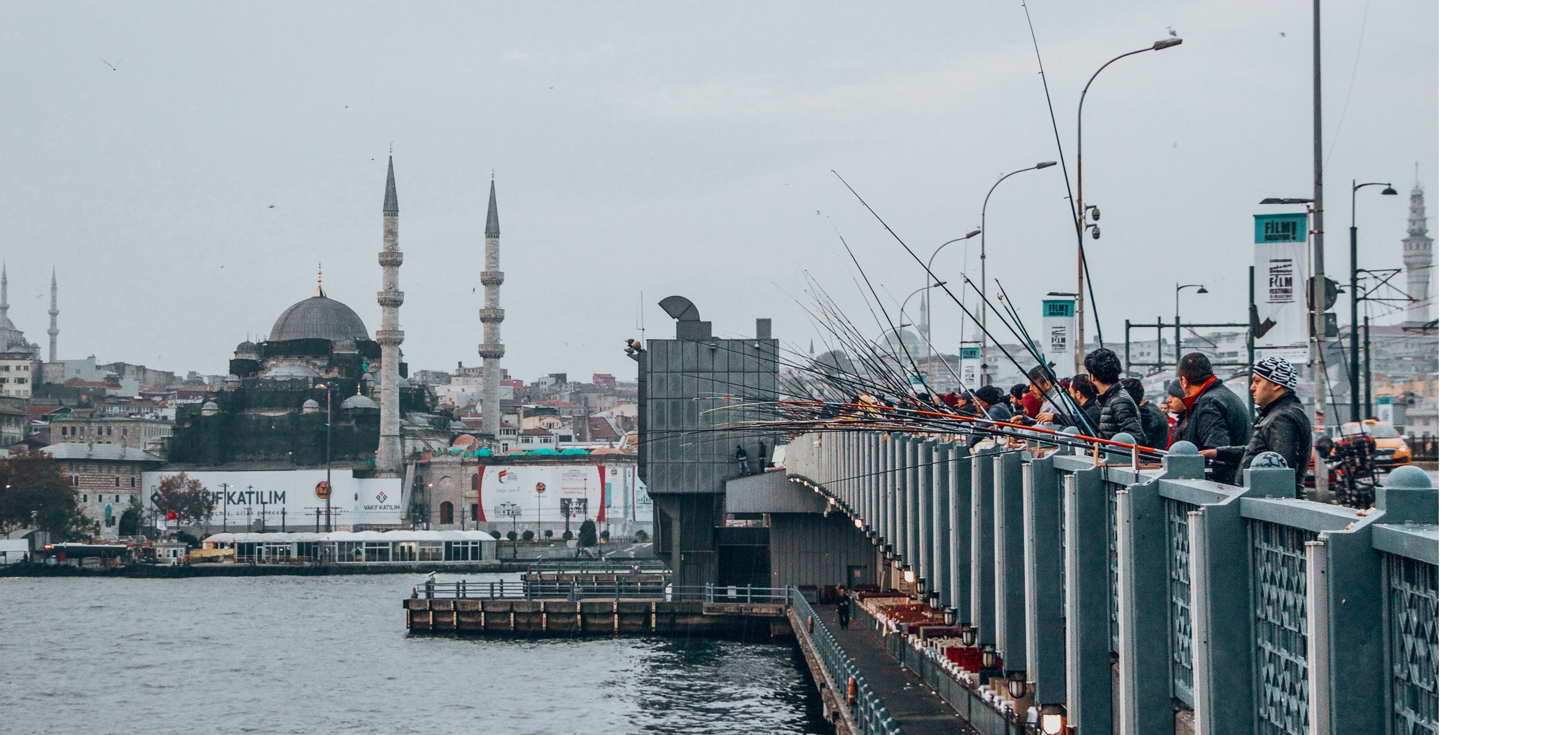 Fisherman wait patiently on the Galata Bridge, How to spend 4 days in Istanbul