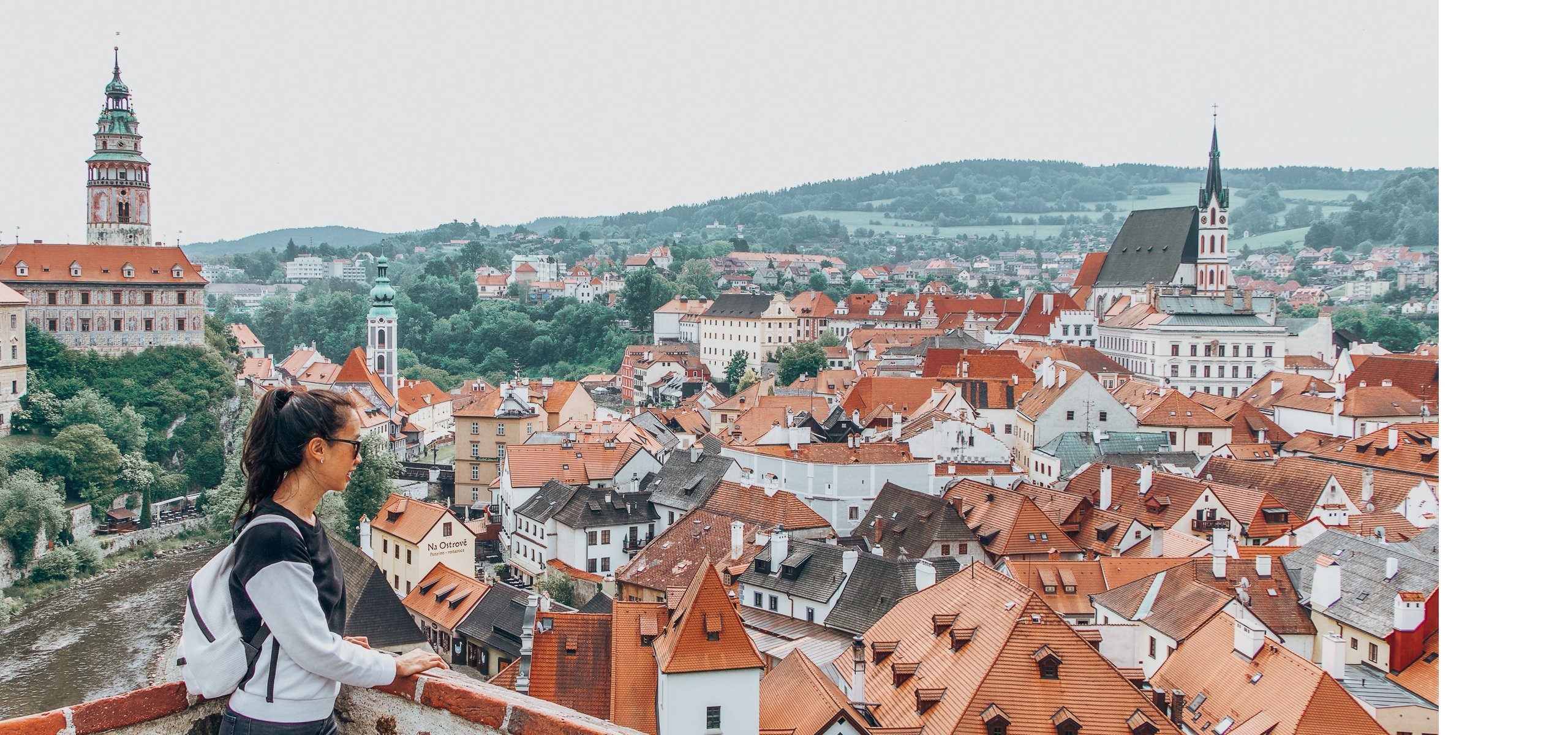 Jasmine overlooking the town of Cesky Krumlov, Czech Republic
