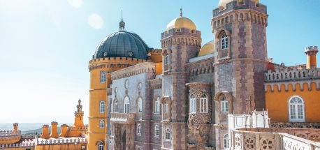 Impressive blue and yellow details of Pena Palace, Sintra - Lisbon, Portugal