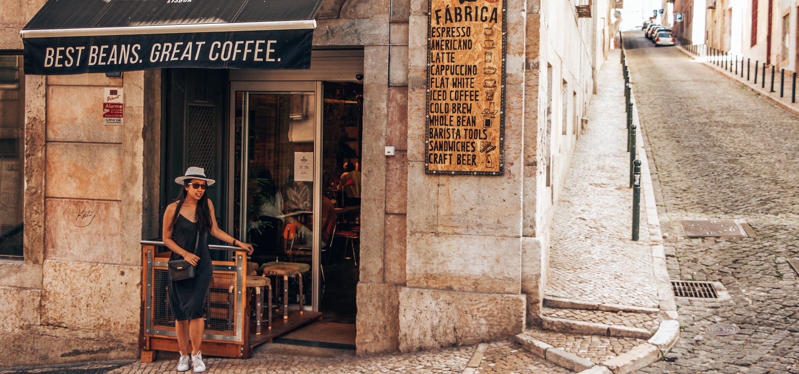 The entrance to Fabrica Coffee Roasters in Lisbon, Portugal