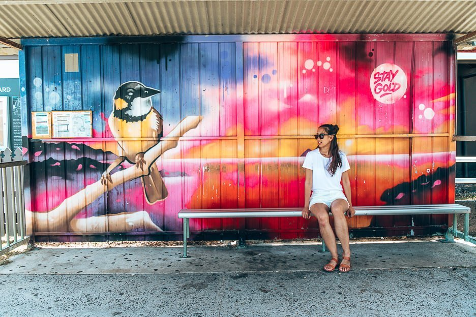 Colourful murals at bus stops in Byron Bay, New South Wales, Australia