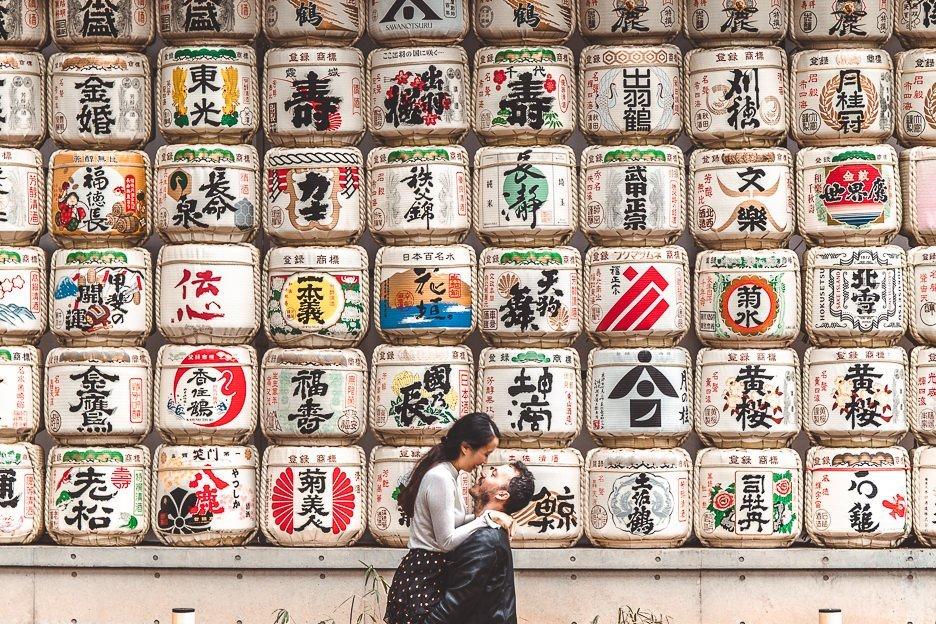 Couple at sake barrels at Meiji Shrine, Tokyo