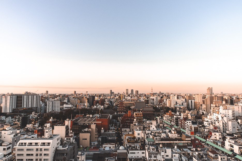 View over the Asakusa neighbourhood from the terrace of The Gate Hotel Kaminarimon by HULIC
