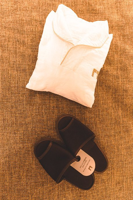 Double gauze fabric pyjama set and slippers at The Gate Hotel Kaminarimon by HULIC