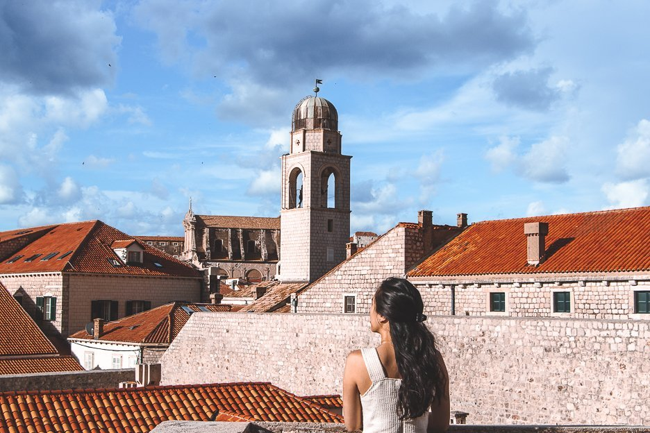 A view of the bell tower in Dubrovnik Old Town