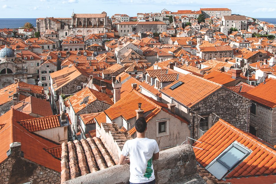 Looking out over the red terracotta roofs of Dubrovnik Old Town