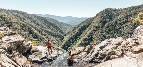 Swimming at the top of Windin Falls, tropical north Queensland