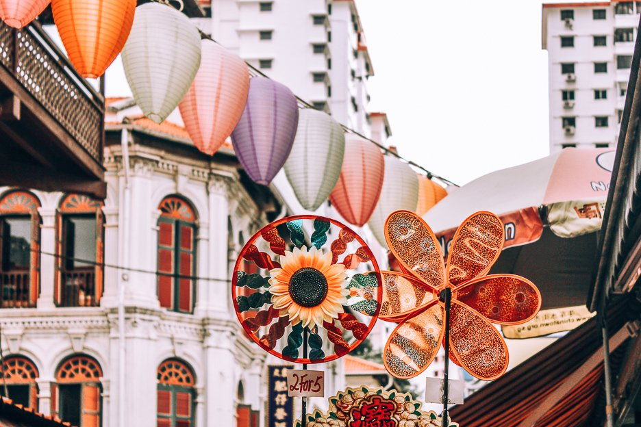 Colourful landers and wind wheels in Chinatown, Singapore