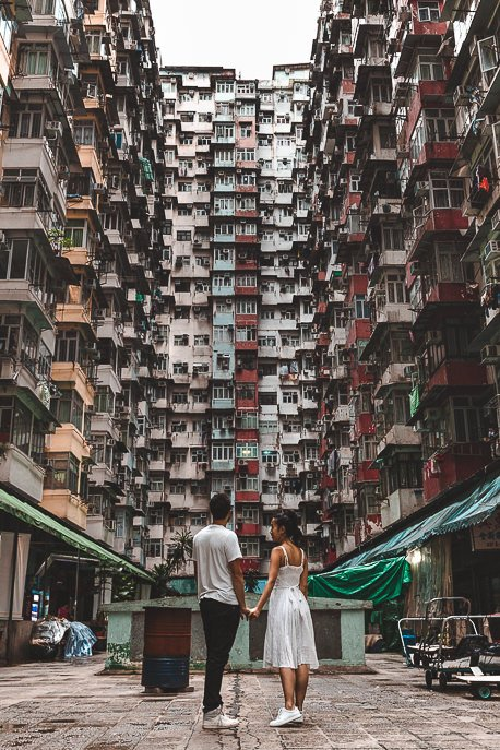 A couple post in the courtyard of Montane Mansion - a must for photographers on their Hong Kong travel itinerary