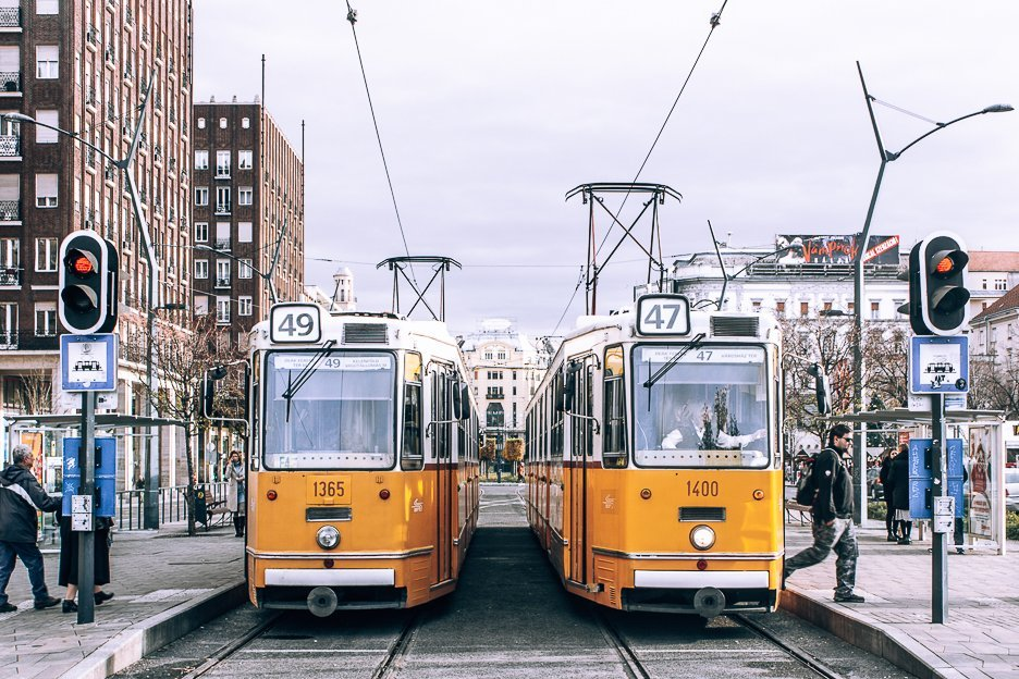 Yellow trams in Budapest, Hungary