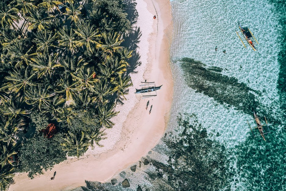 Aerial view of Guyam Island in Siargao, The Philippines