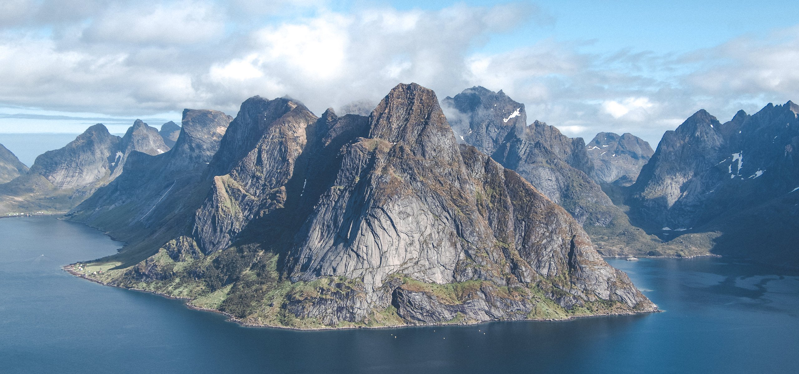 Hiking Reinebringen - the view from the top. Lofoten Islands Norway
